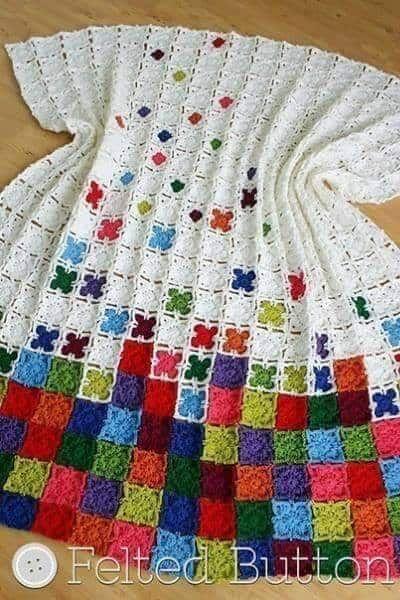 Patrón de granny utilizado para tejer manta a crochet en color ...
