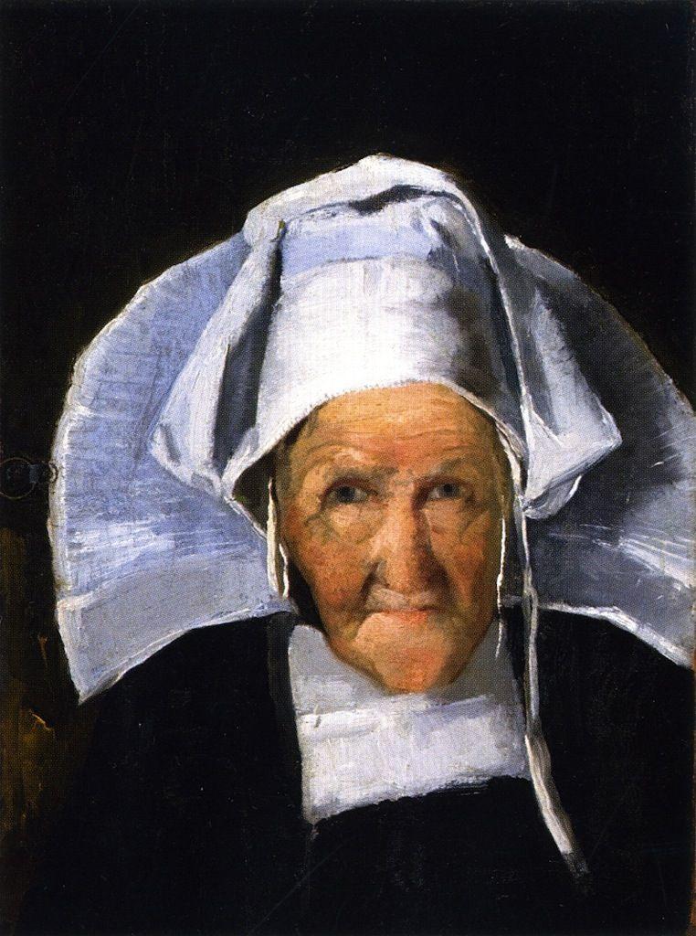 The Athenaeum - Portrait of a Woman in Normandy Cap (Julian Alden Weir - )