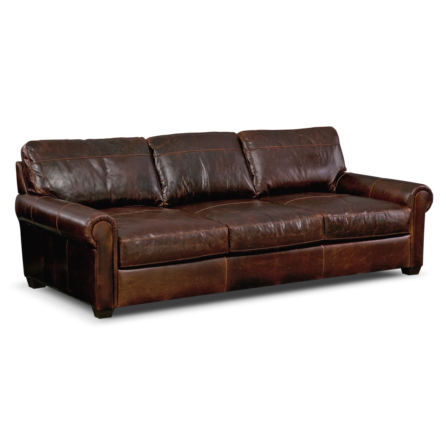 Burnham Leather Sofa Value City Furniture Knock Off Restoration Hardware