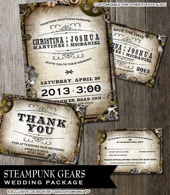Steampunk Wedding Stationary Rsvp Invitation Thank You Save The Date With Multiple Gears O Steampunk Wedding Invitation Steampunk Wedding Wedding Stationary