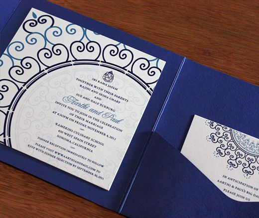 square wedding invitation pocket folders customize