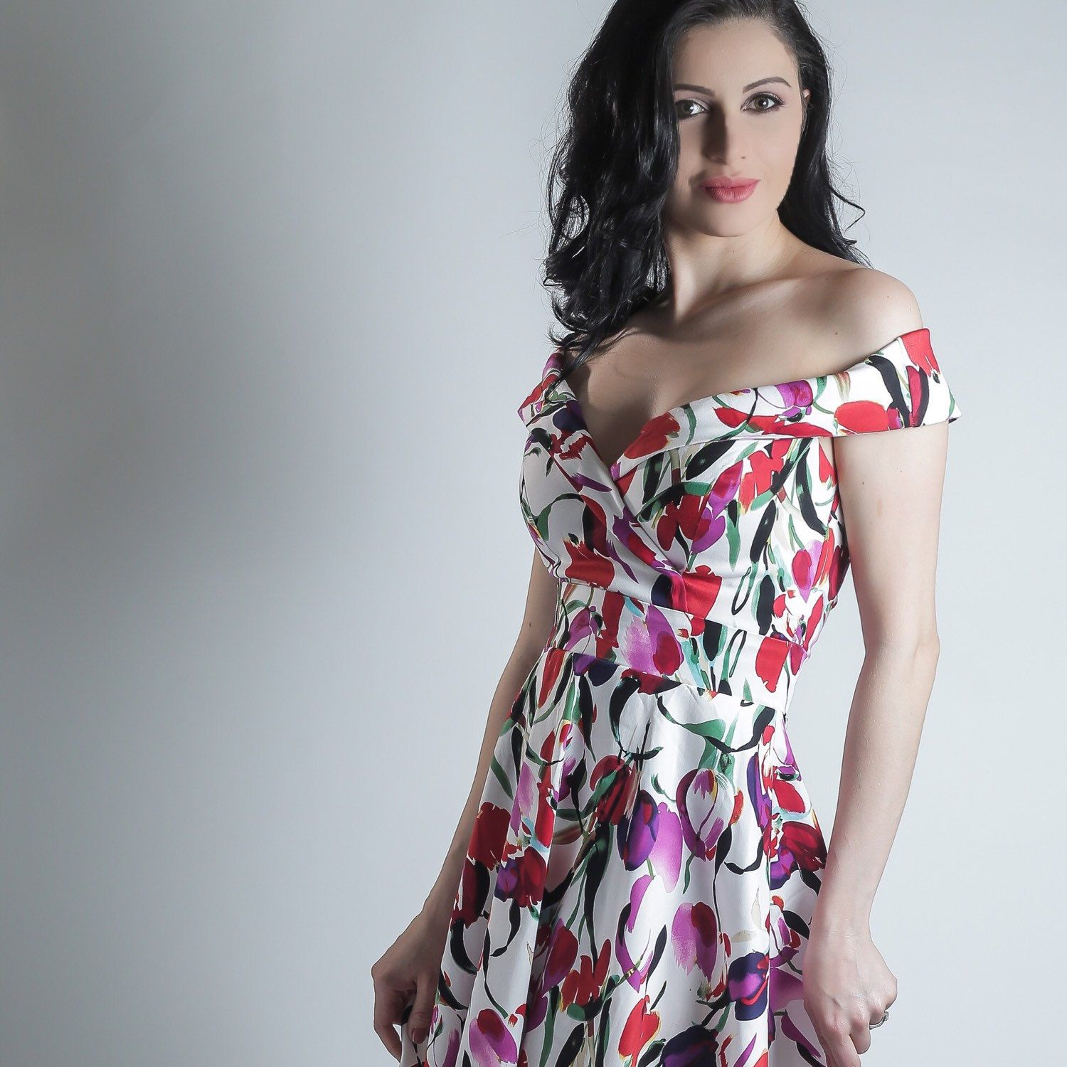 Mid length dresses for wedding guests  Tulip summer dress floral dress red purple and fuchsia dress off