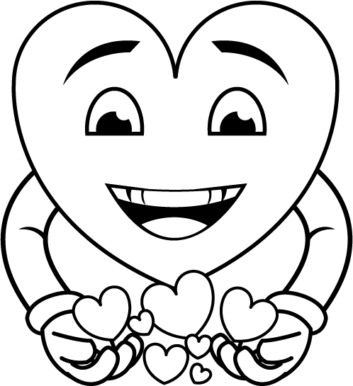 Happy Heart Clipart Black And White