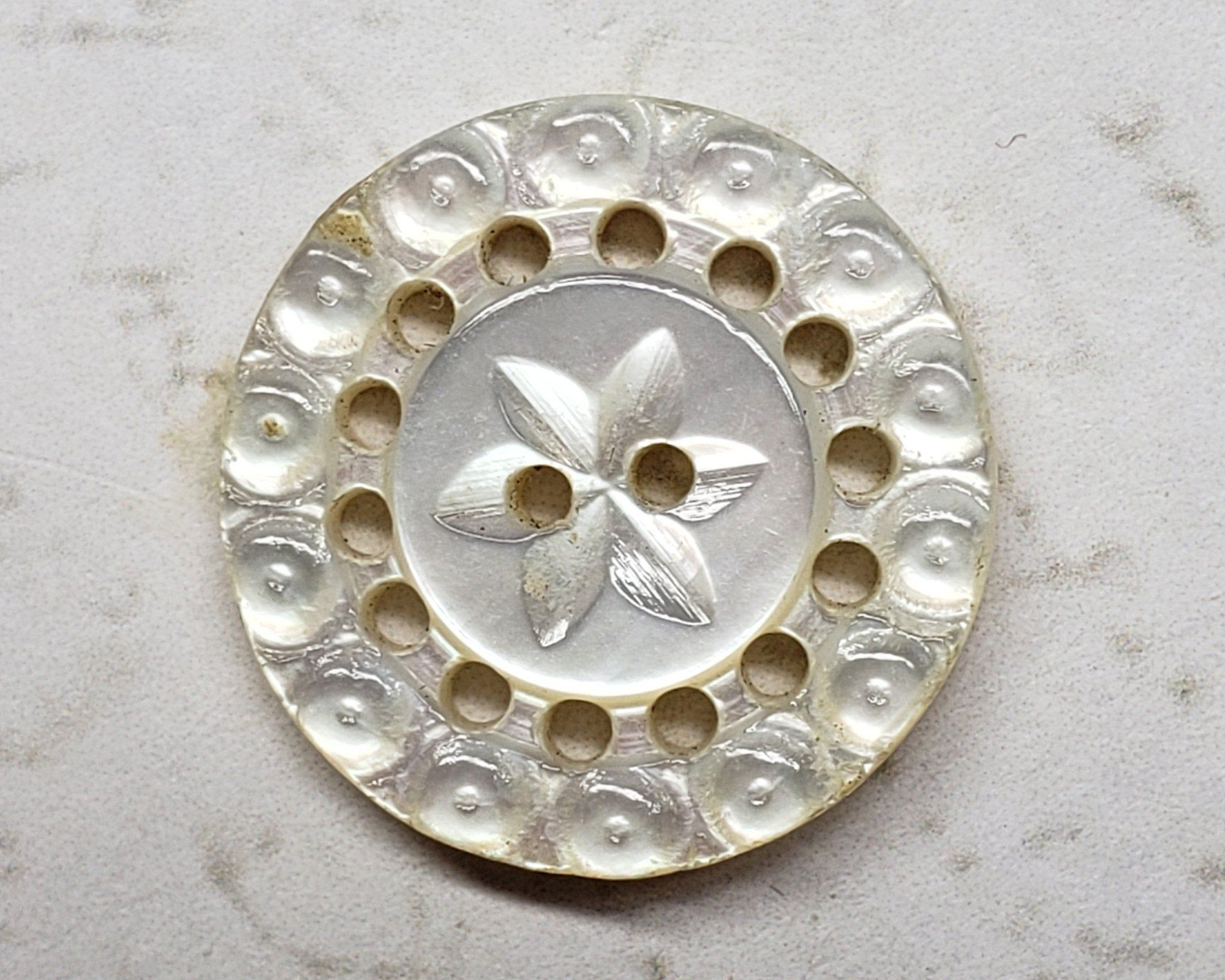 Beautifully Carved Mother of Pearl Button; Iridescent White Pearl; Large Antique Shell Button; 4 Hole Sew Thru