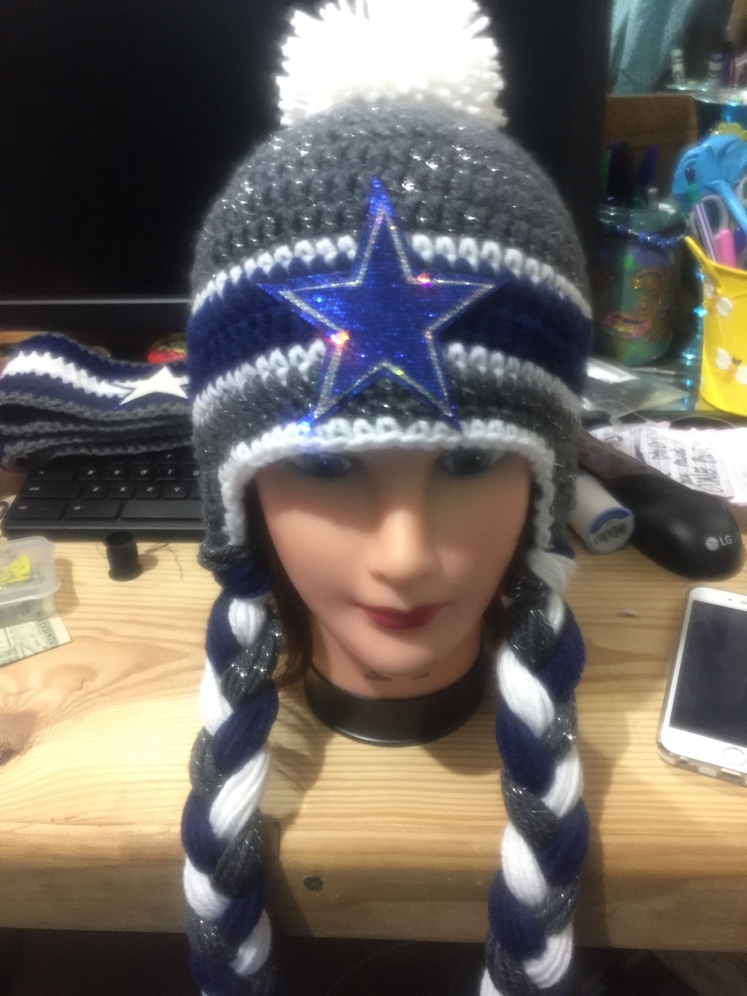 Glittering Dallas cowboy hand crochet beanie   Hand ...