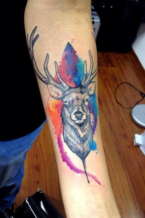 Stags Head With Colours Inspirational Tattoos Deer Tattoo