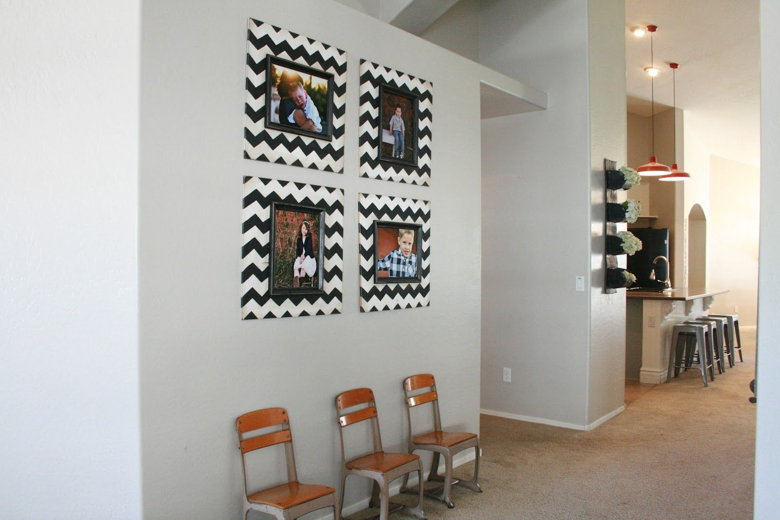 chevron picture frames~going up the stairway by Grand Design