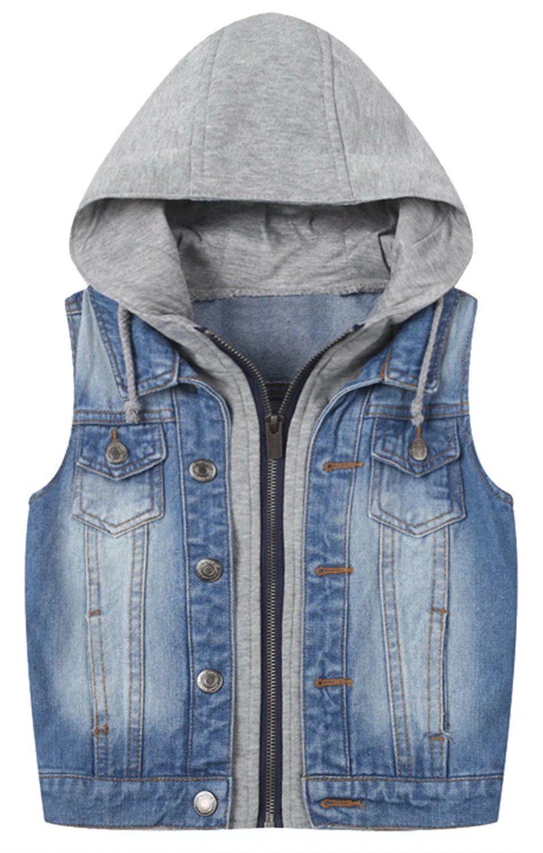 Betusline Unisex Kids Boys Hoodie Denim Jean Tank Vest Outerwear Zipper Blue Material Cotton Blended Denim S Kids Denim Sleeveless Jean Jackets Girls Jacket [ 1500 x 956 Pixel ]