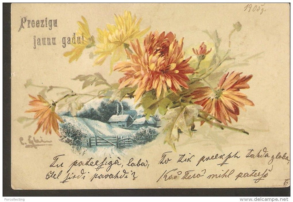 B6 Happy New Year Greetings Antique Postcard 1905 Russian Stamp