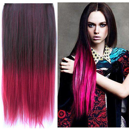 Uniwigs ombre dip dye color clip in hair extension 60cm length uniwigs ombre dip dye color clip in hair extension 60cm length black to red straight pmusecretfo Choice Image