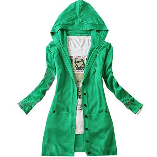 Korean Women's Casual Long-sleeved Knitted Hooded Cardigan Jacket ...