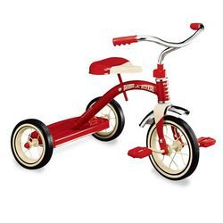 Tricycles were the mode of transportation for a kid