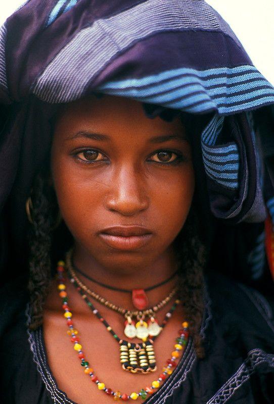 Africa Wodaabe girl at the Gerewol Festival. Niger