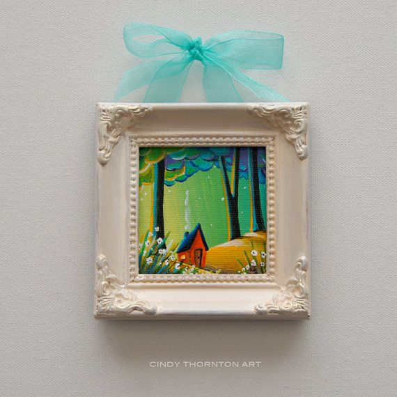 "SOLD: ""Country Lights 4"" original painting by Cindy Thornton #whimsicalart #woodland #landscapeart #magical #forest #landscape #mini #small #painting #art #woods #house"