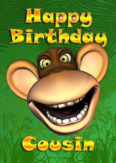happy birthday cousin monkey banana card  happy birthday