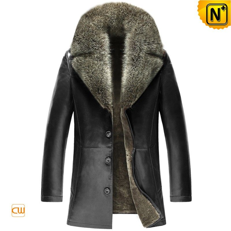 39513b09266 Men s Shearling Coat with Raccoon Fur Trim CW855359 Luxe Genuine Fur coat  for men crafted from imported lambskin leather shell