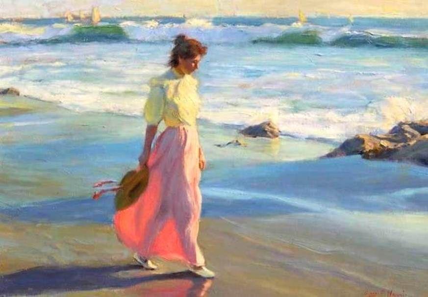 Harris Gregory Frank B 1953 Woman Walking On Beach Southwest Art Art Beach Art