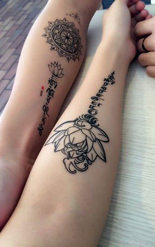 Silom lotus sanskrit script temporary tattoo arm tattoo for Temporary arm tattoos