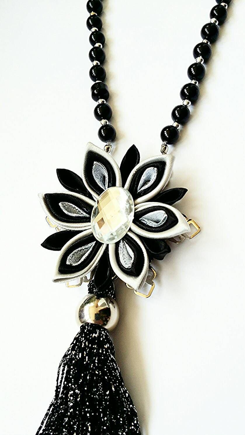 430d5b74a992 Negro collar largo de plata collar de por LenajewelleryDesign ...