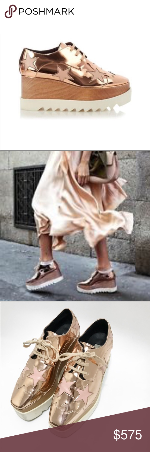 f32d34be5a5 Stella McCartney Elyse Star Rose Gold Platform Oxford-style shoes in copper  tone featuring contrasting