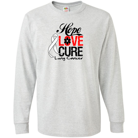 Lung Cancer Hope Love Cure Long Sleeve T-Shirts featuring an inspirational slogan with our unique draped-style awareness ribbon to support the cause #LungCancerHope #LungCancerAwareness #LungCancerShirts