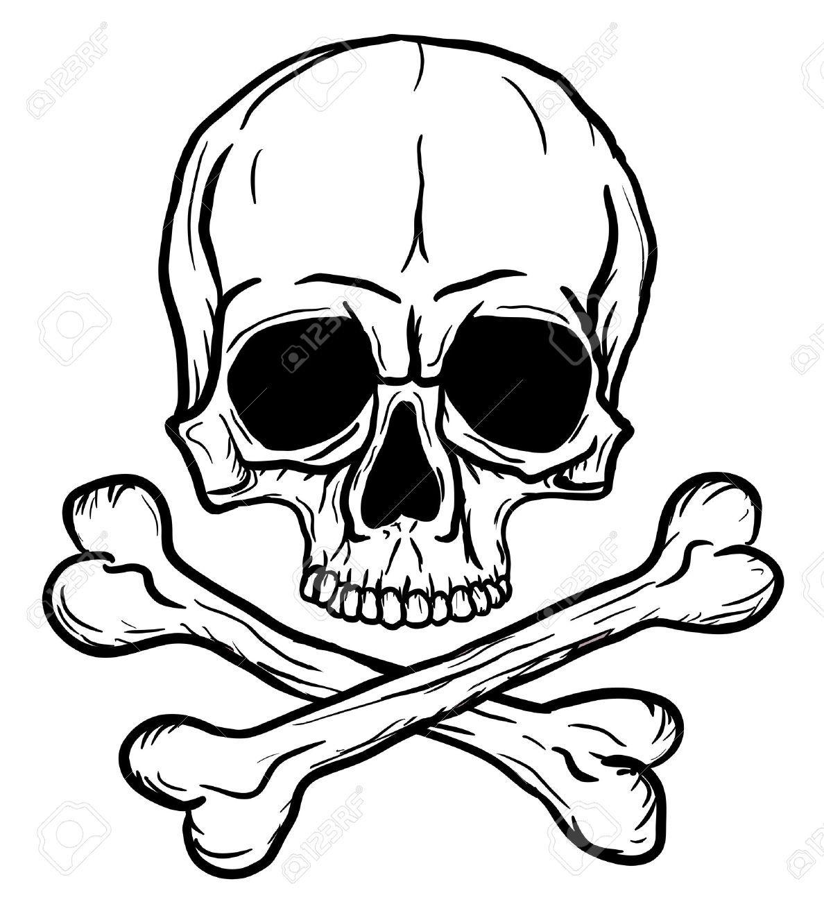 Schadel Und Knochen Auf Weissem Hintergrund Isoliert Schadel Schablone Schadel Malerei Schadelkunst