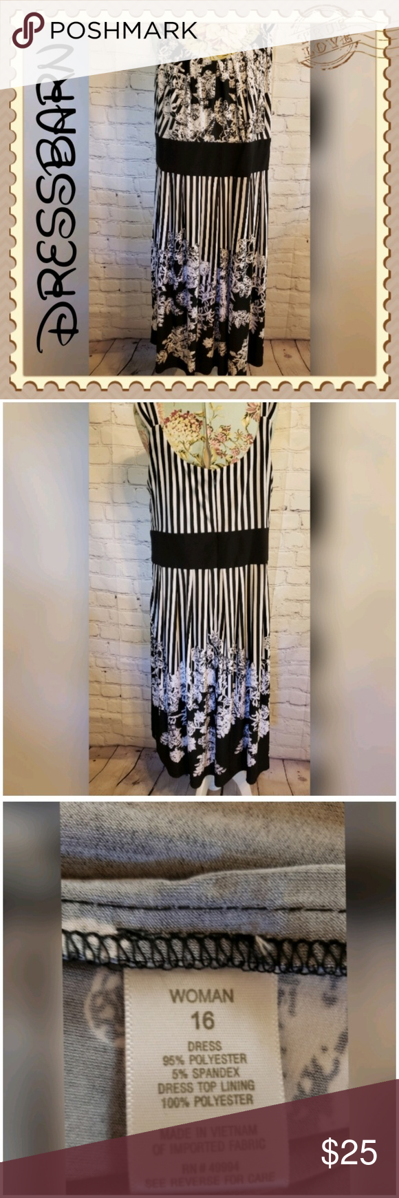 Dressbarn Black and White Floral sleeveless Dress #blacksleevelessdress