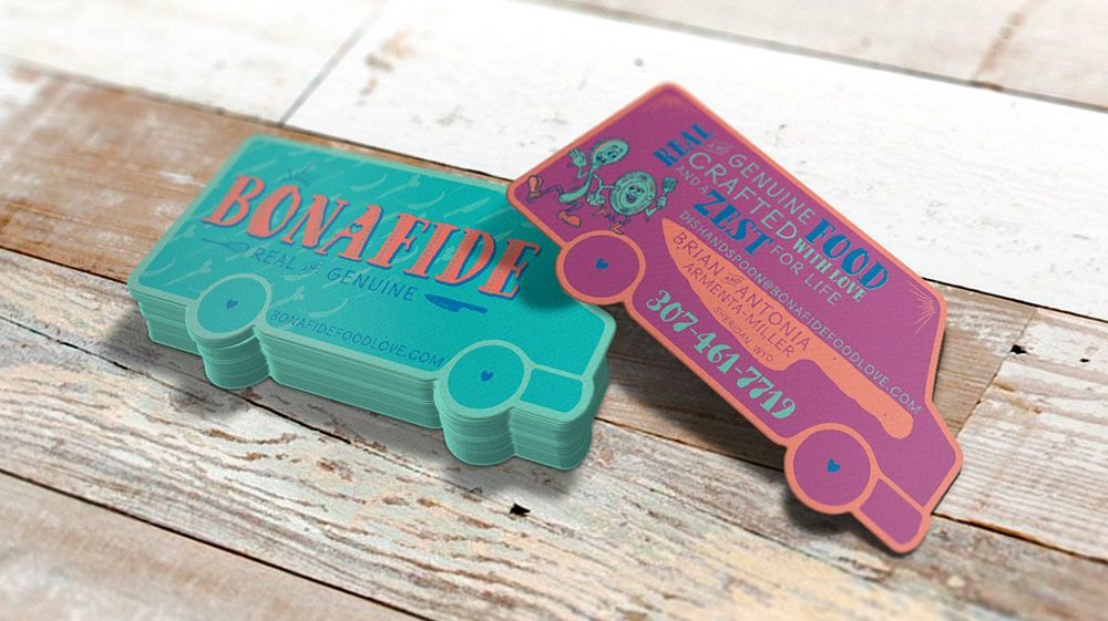 Awesome And Unique Die Cut Custom Food Truck Business Cards