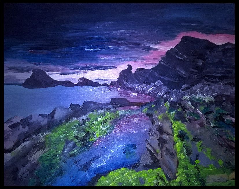 Purple Ocean Sunset Oil On Canvas 406x508mm Painted From Reference Landscape Artwork Landscape Paintings Oil Painting Landscape