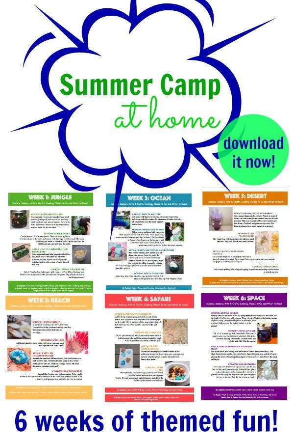 Download your guide to a 6 week summer camp at home program! With themes like space, beach, safari and more, you will find plenty your kids busy & learning!