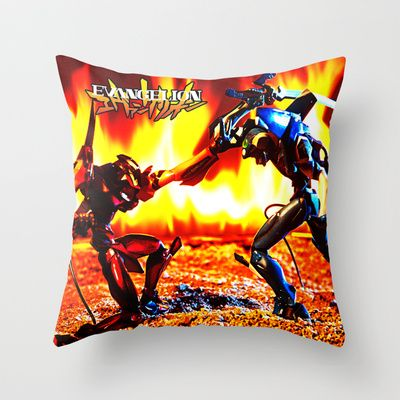 Eva-00 vs Eva-02 photoshoot Throw Pillow by Edu Gerbi - $20.00