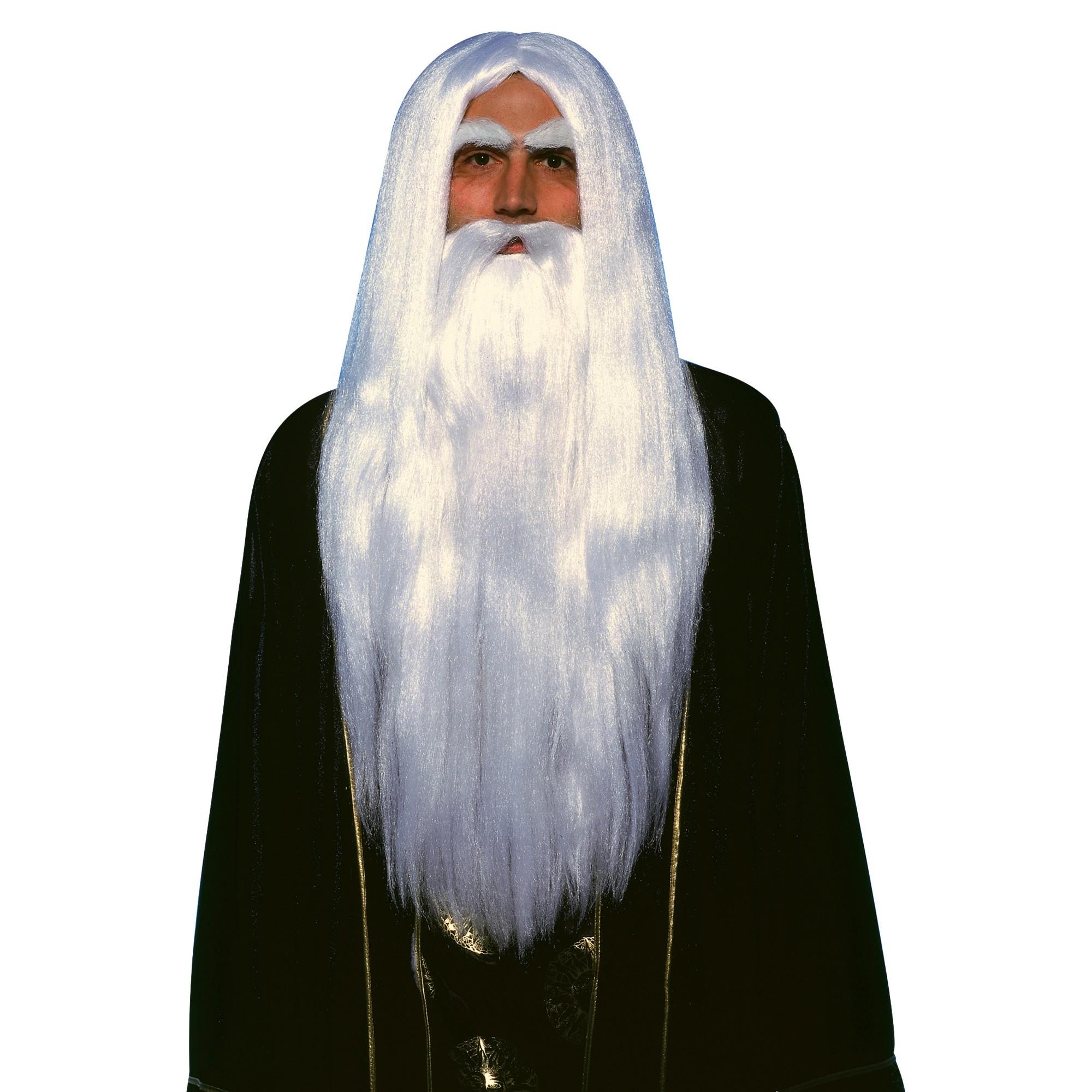 Halloween Merlin Wig and Beard, White Beard wig