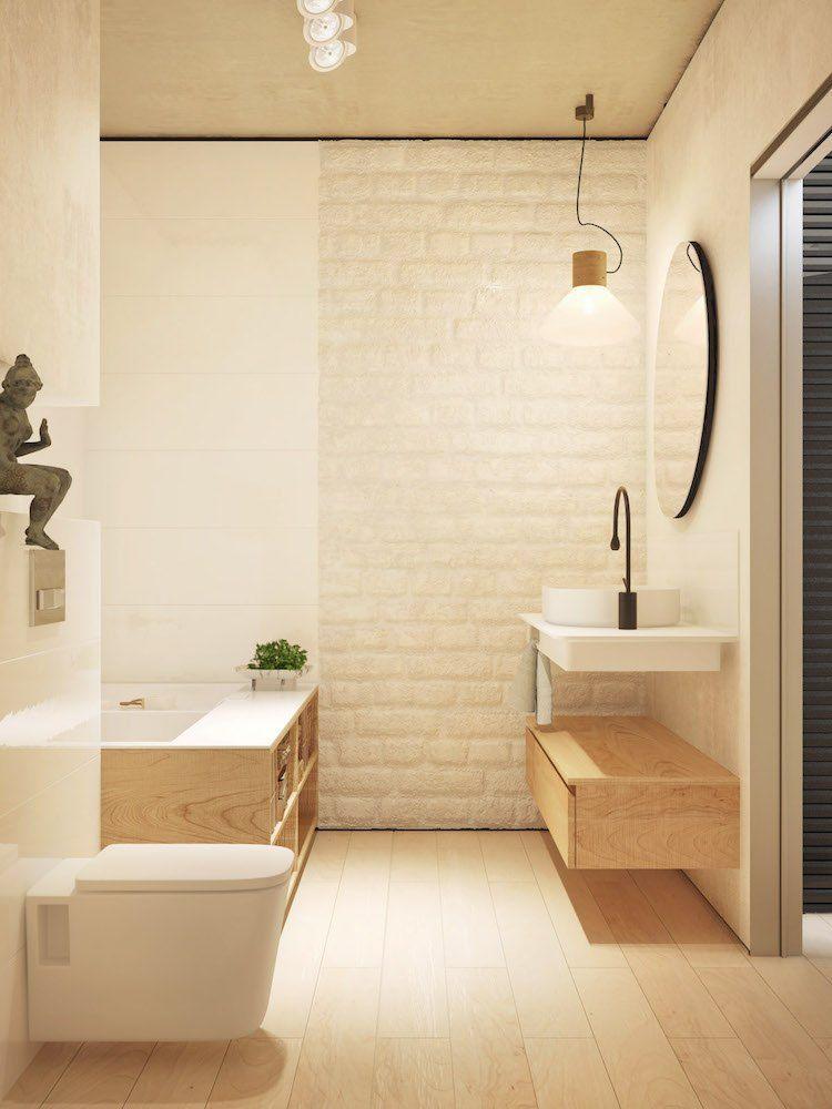 déco-salle-bain-minimaliste-blanc-bois-clair-brique-blanche-exposée ...