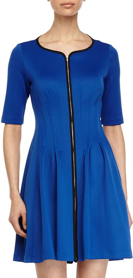 $99, Betsey Johnson Zip Front Fit And Flare Dress Sea Blue. Sold by Last Call by Neiman Marcus. Click for more info: https://lookastic.com/women/shop_items/275535/redirect