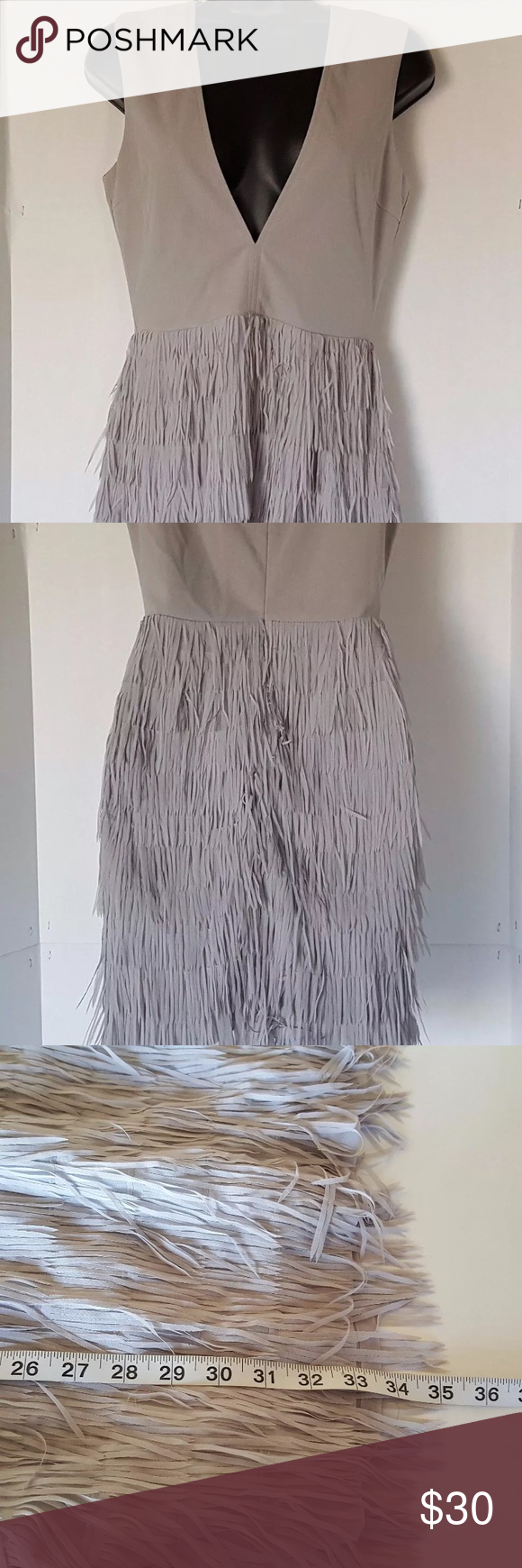 Misguided fringe dress Gray misguided fringe dress Missguided Dresses Midi
