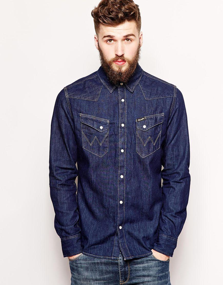 Wrangler Western Denim Shirt Light Indigo