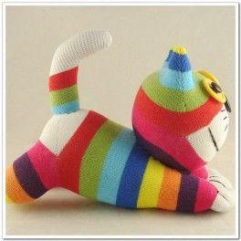 Peluche gato de calcetines for Munecos con calcetines