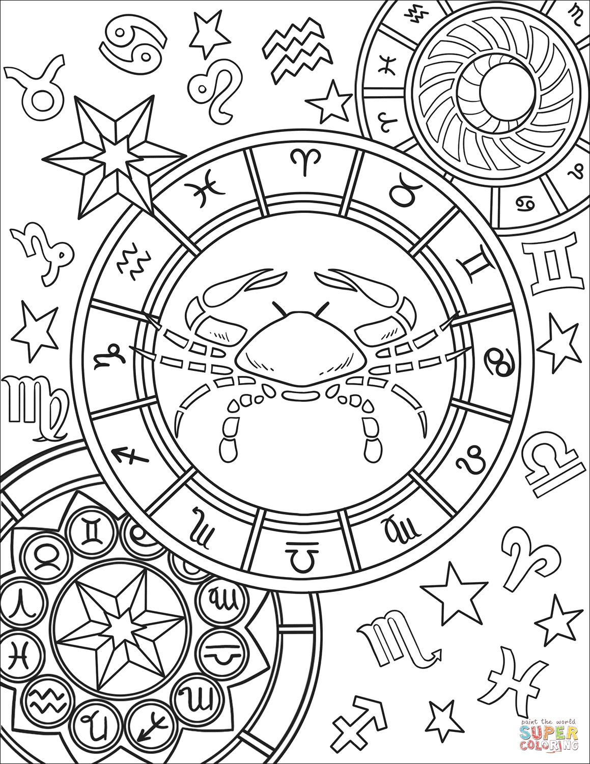 Cancer zodiac sign coloring page free printable coloring pages