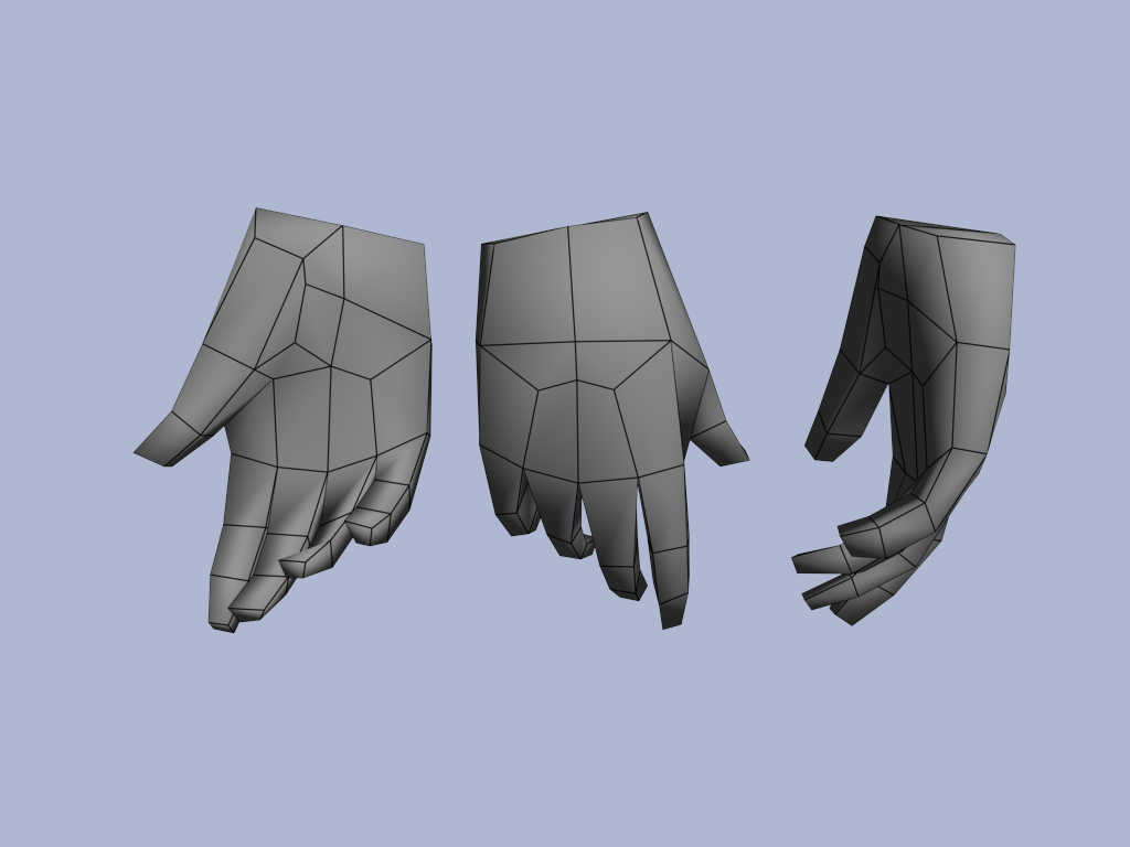 Blender 3d Hand ~ Topology low game model google search ㅂ