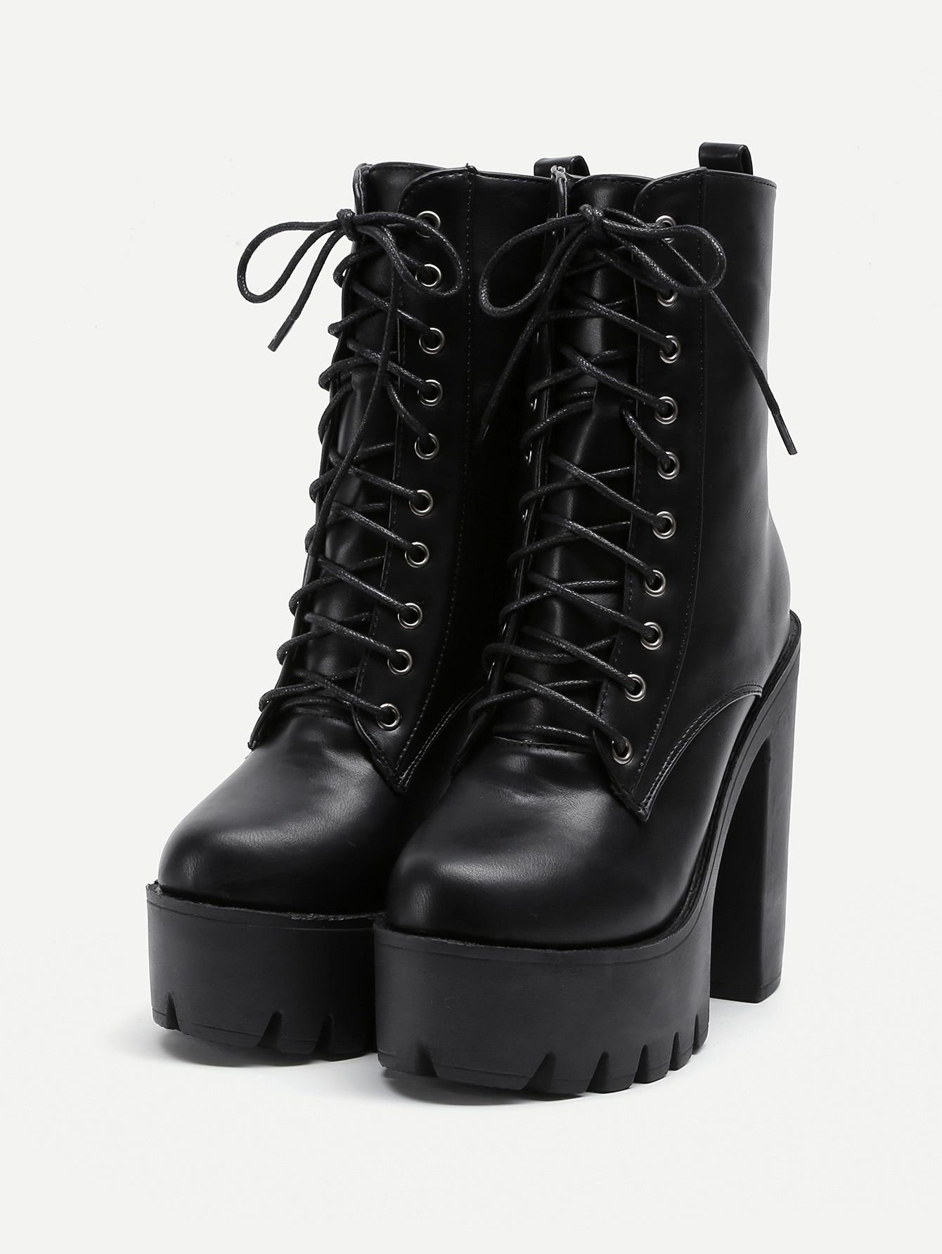 d4200c38d9 Platform Lace Up PU Heeled Boots -SheIn(Sheinside) | Shoes in 2019 ...