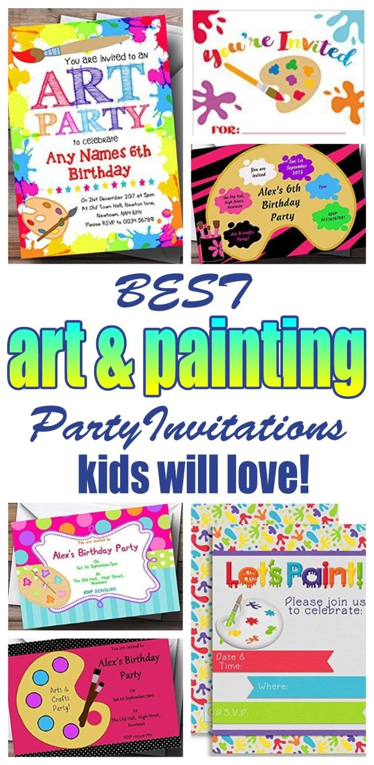 Art And Painting Party Invitations Great For Girls Boys Teens Tweens Adults Find Cool Fun Invite Ideas Your Celebration