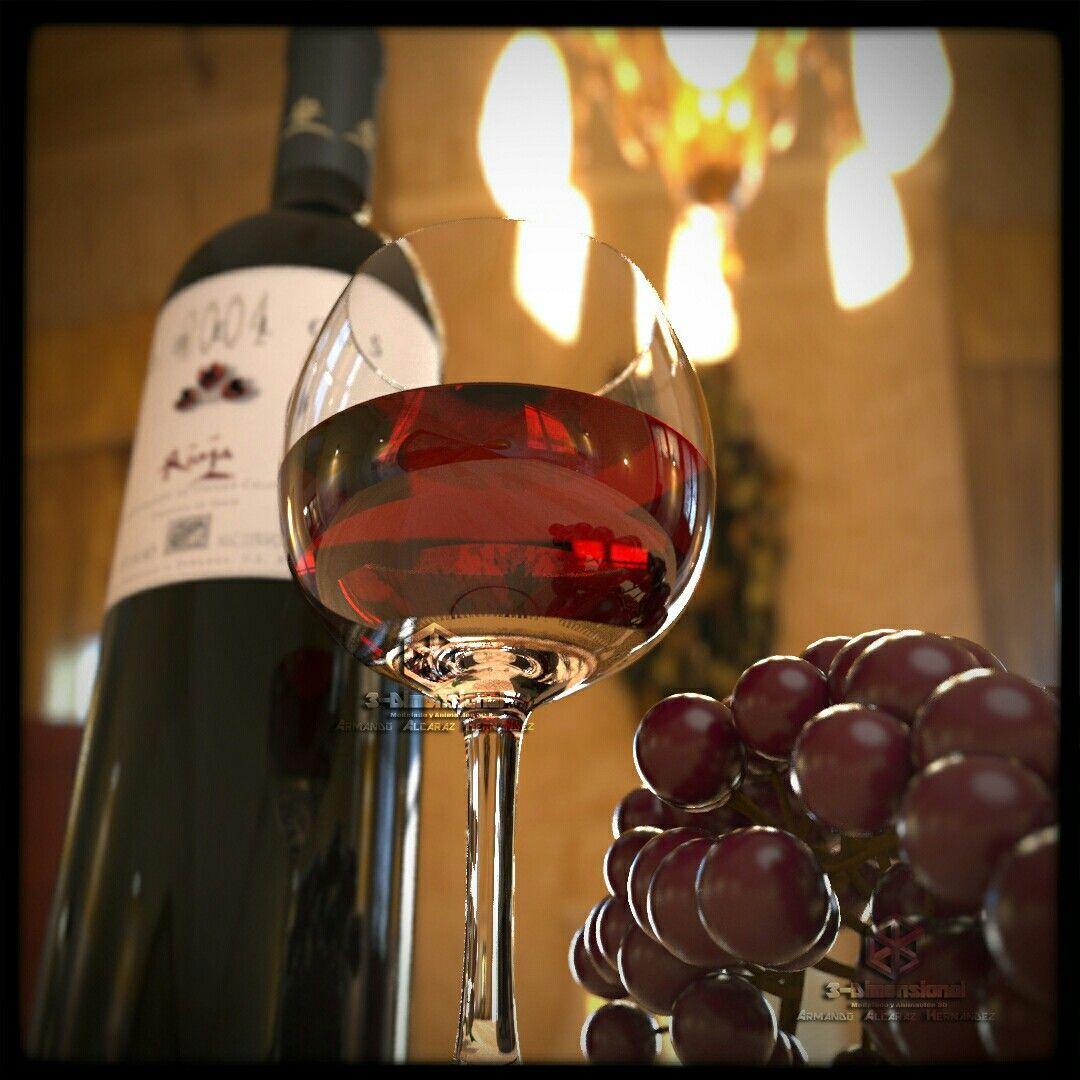 Botella de Vino Tobelos con copa y uvas.