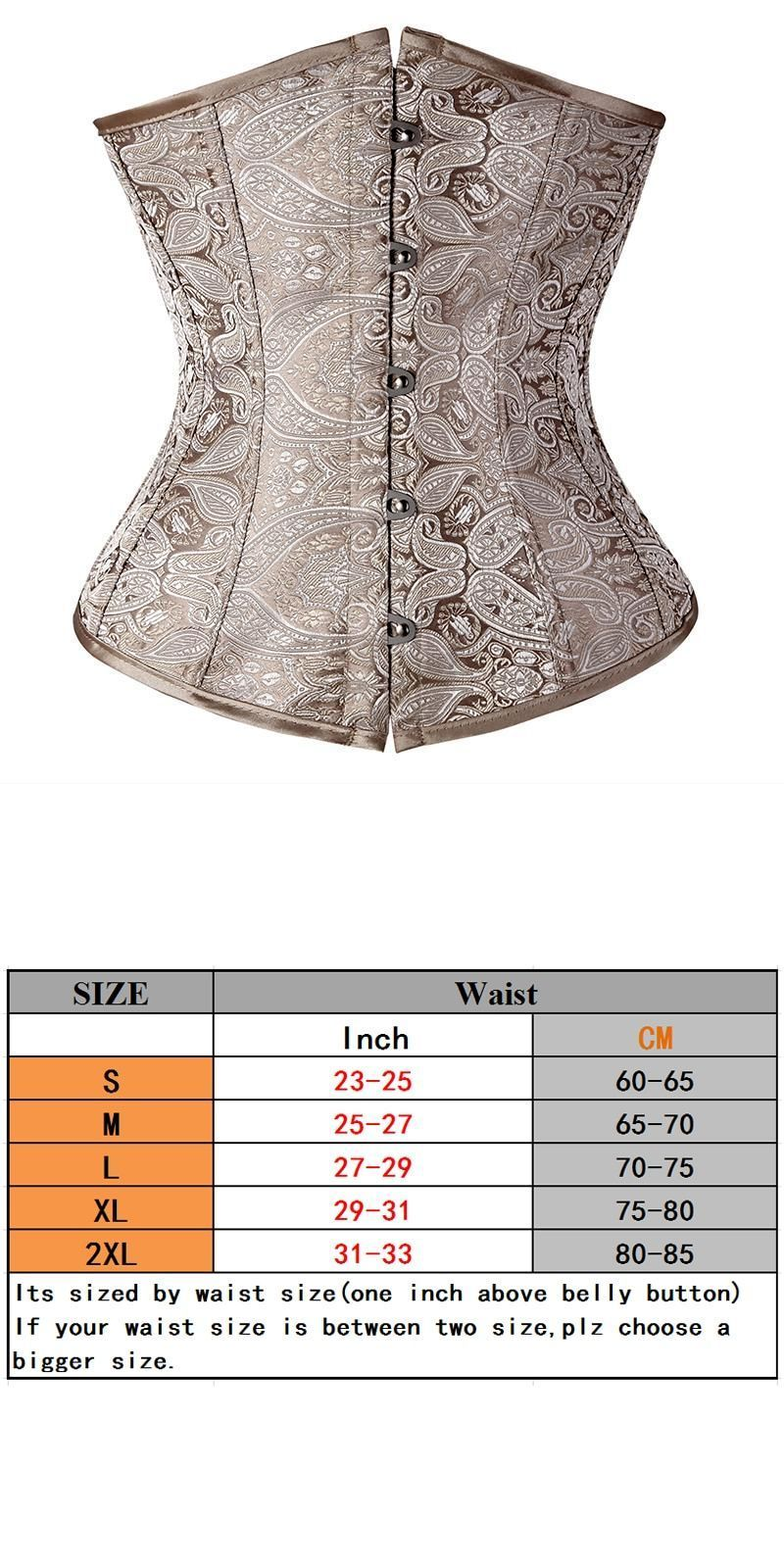 bcaa00ec81 Floral pattern underbust vintage waist trainer corset top goth bustiers  boned lace up s-2xl read our size chart tfs  women  bustiers     corsets   solid ...