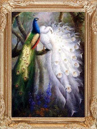 MADE IN AMERICA PEACOCKS Miniature FRAMED Dollhouse Art Picture FAST DELIVERY