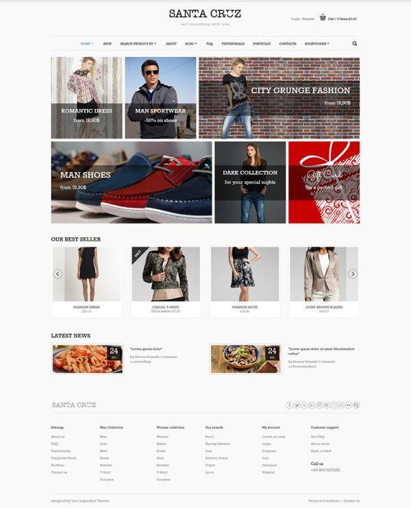 Santa Cruz Free Woocommerce Wordpress Theme Woocommerce Wordpress Themes Web Design Freebies Free Ecommerce