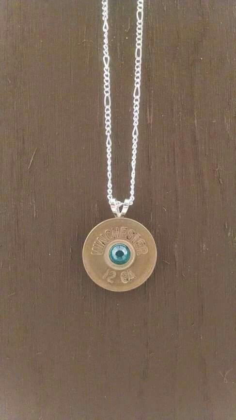 "Custom made 12 gauge shoot gun shell pendant with 6mm inset gem and 18"" shiny silver chain. Made to order. www.facebook.com/devonleahcreations"