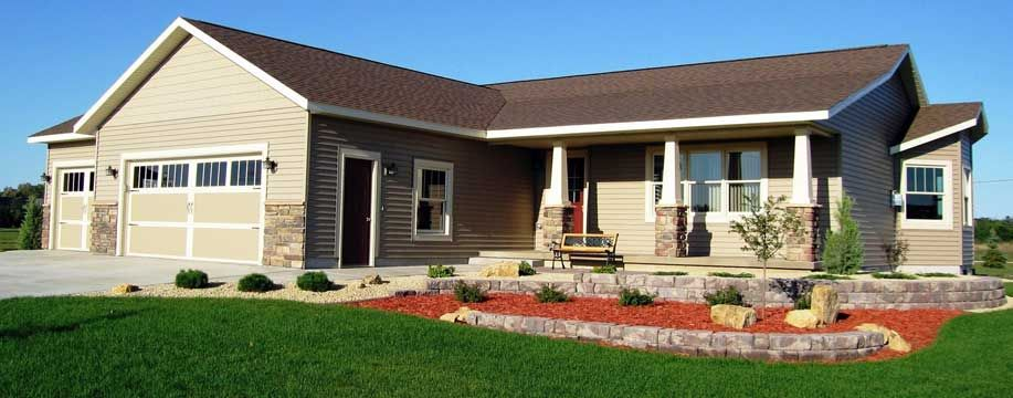 Custom Ranch Style Modular Home With Attached Garage And Build Out On Right Elevation Ranch Style Homes Ranch House Plans House Exterior