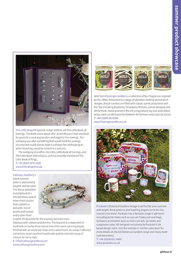 Gift Focus Magazine Issue 95 May / June 2016 featuring our Botanical Gardens gift ware collection perfect for summer #BotanicalGarden #giftware #magazine