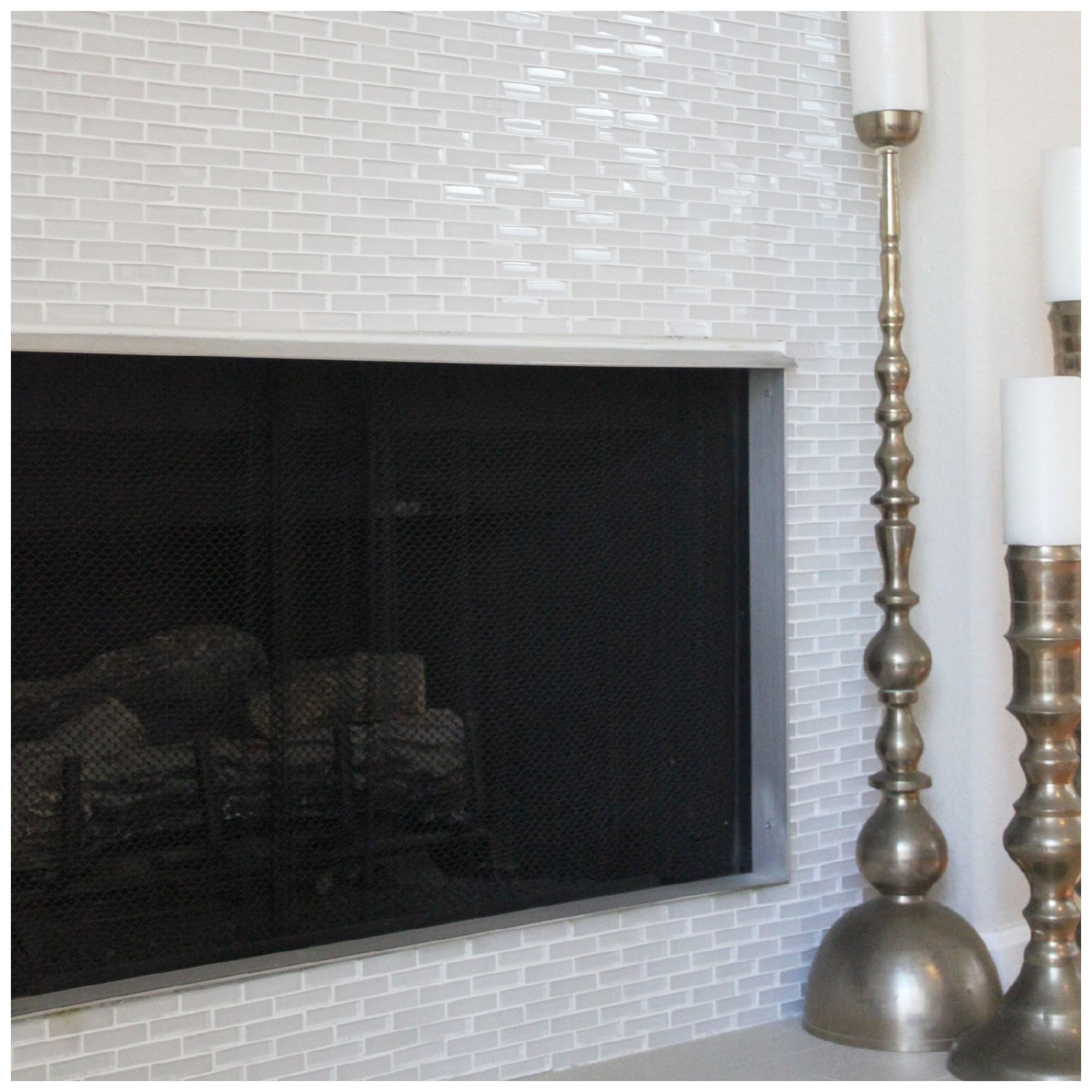 glass tile for fireplace | fireplace before and after white glass