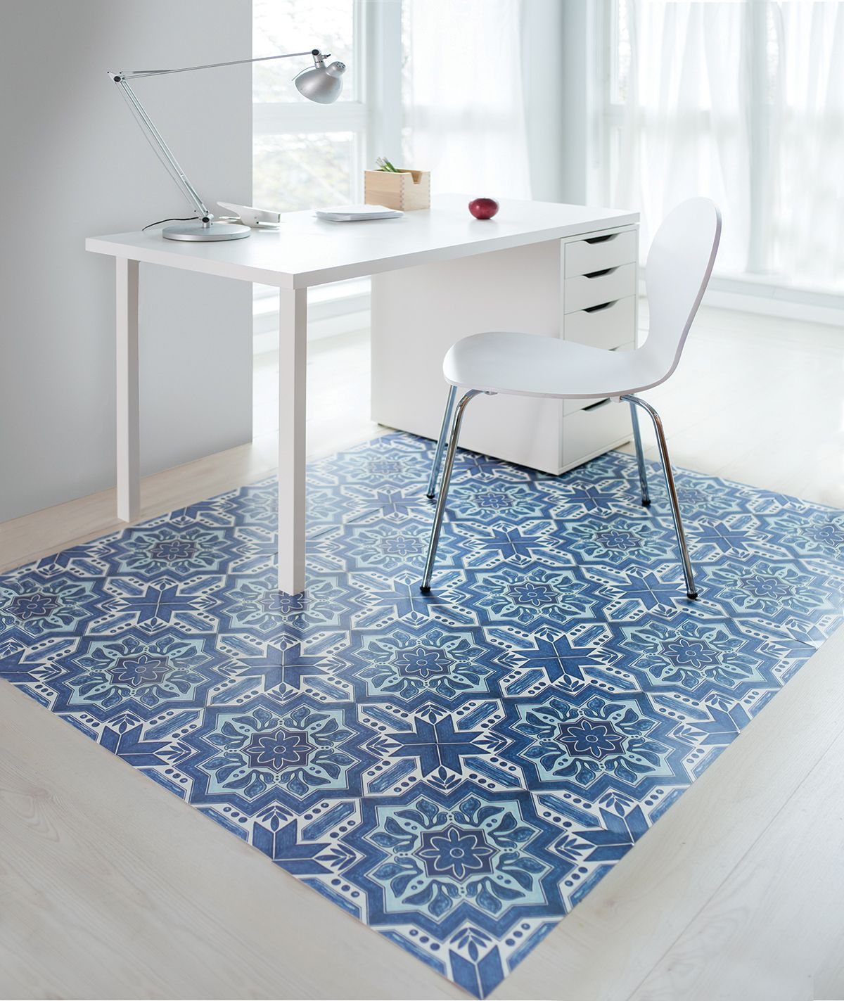Moroccan Blue White Julie S Floorappliquesn Peel Stick
